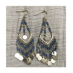 Modern Silver Dangle Tear Drop Beaded Earrings